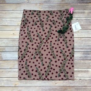 Lularoe Cassie Skirt polka dots and leaves 2XL NWT